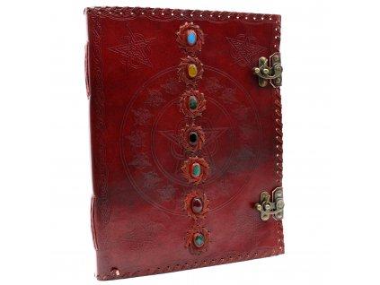 Veľký kožený zápisník - 7 čakier 25x32.5 cm (200 strán)