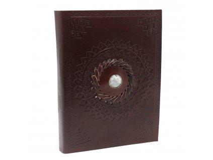 Kožený zápisník - Mesačný kameň 17x12 cm