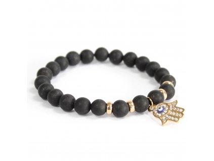 Hamsa/čierny achát - Náramky z drahých kameňov