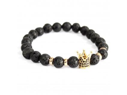 Zlatá koruna/lávový kameň - Náramky z drahých kameňov