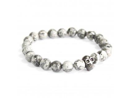 Cínová lebka/šedý achát - Náramky z drahých kameňov