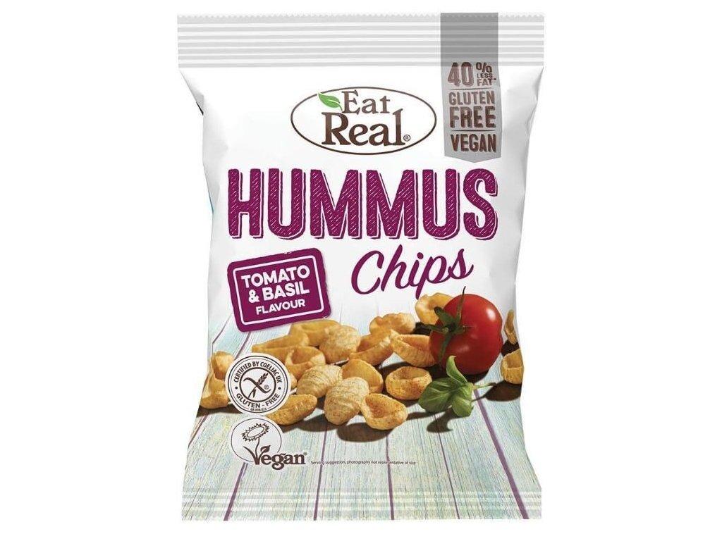 Eat Real Hummus Chips rajče a bazalka 45g