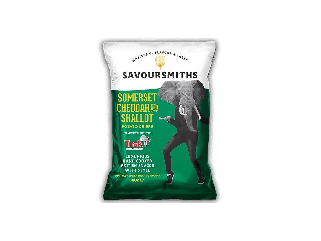 Savoursmiths Somerset Cheddar & Shallot bramborové lupínky 40g