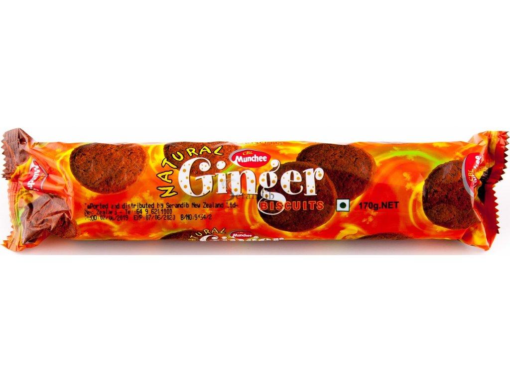 Munchee Natural Ginger Biscuits 170g - přírodní zázvorové sušenky
