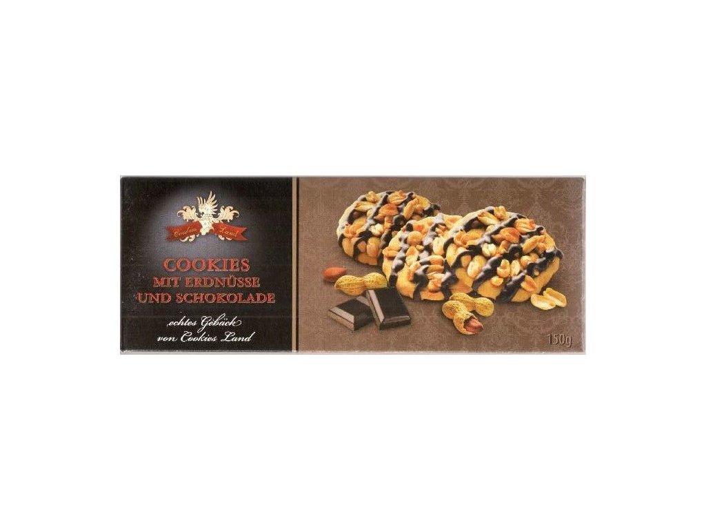 Cookiesland sušenky Erdnuss Cookies mit Schokolade 150g