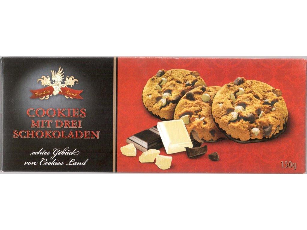 Cookiesland sušenky Cookies mit Drei Schokoladen 150g