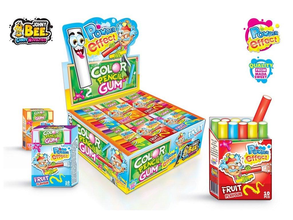 Color Pencil žvýkačky - Powder Efect krabička - karton 18x 35g
