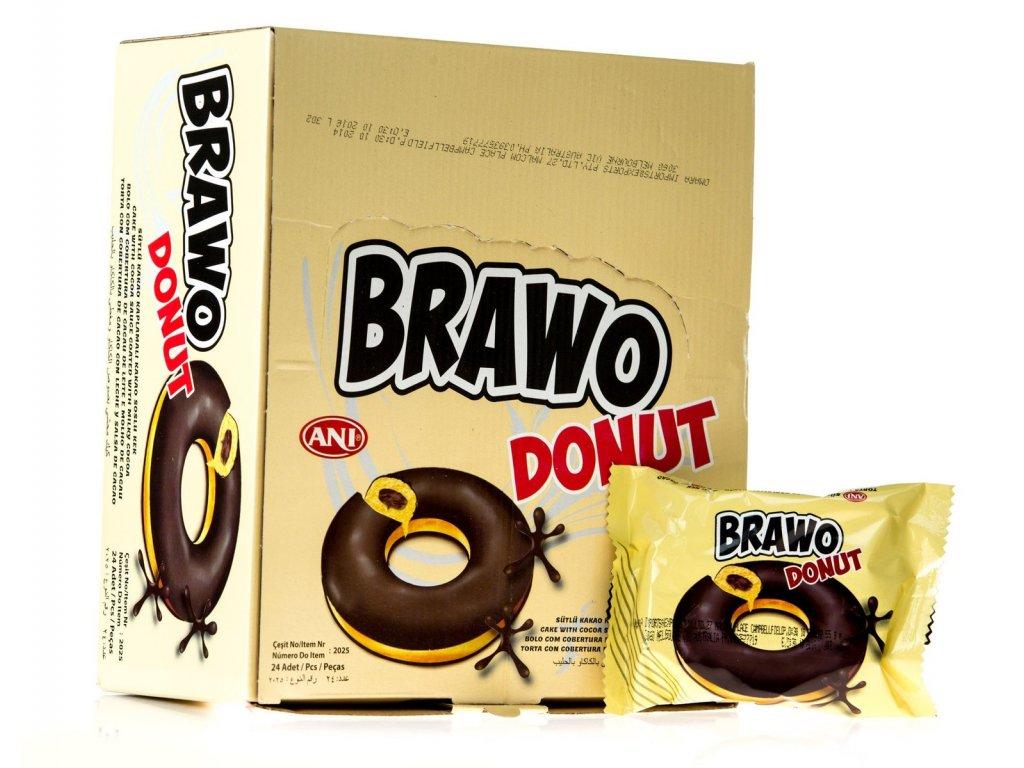 Brawo Donut polomáčený s kakaovou náplní karton 24x 50g