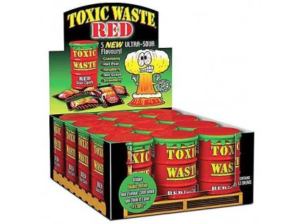 Toxic Waste Red Drum Extreme Sour Candy karton 12x 42g