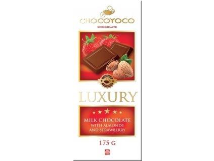 Luxury Mléčná čokoláda s kousky mandlí a jahod 175g