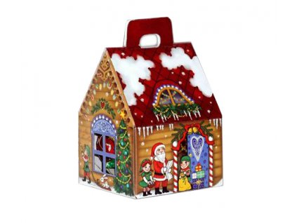 Vánoční Mikulášský domeček - 4 čokoládové vánoční ozdoby uvnitř 75g