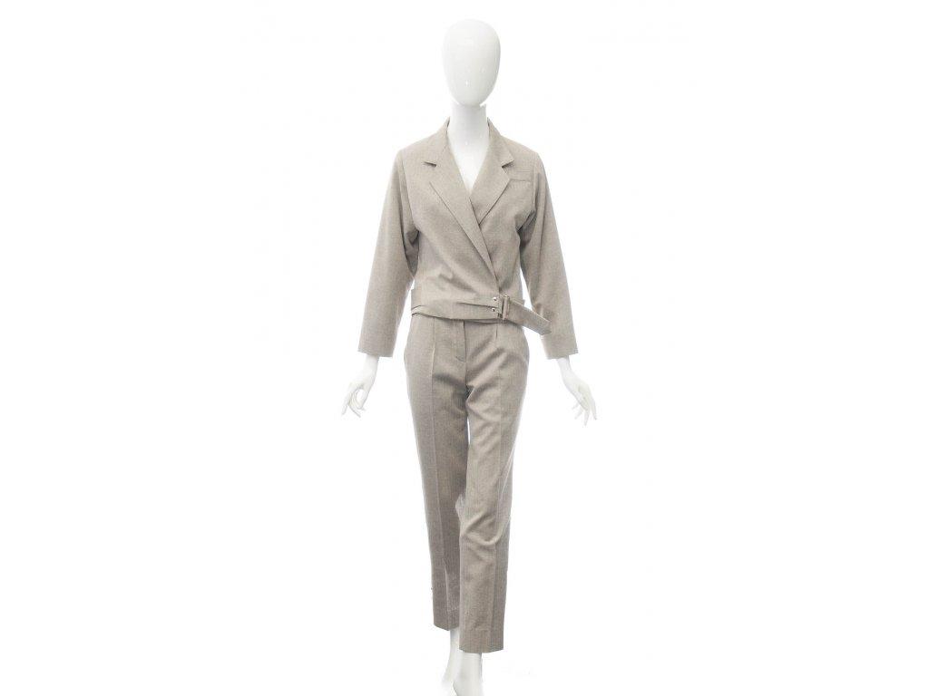 louis vuitton luxusni bezovy kalhotovy kostym 1