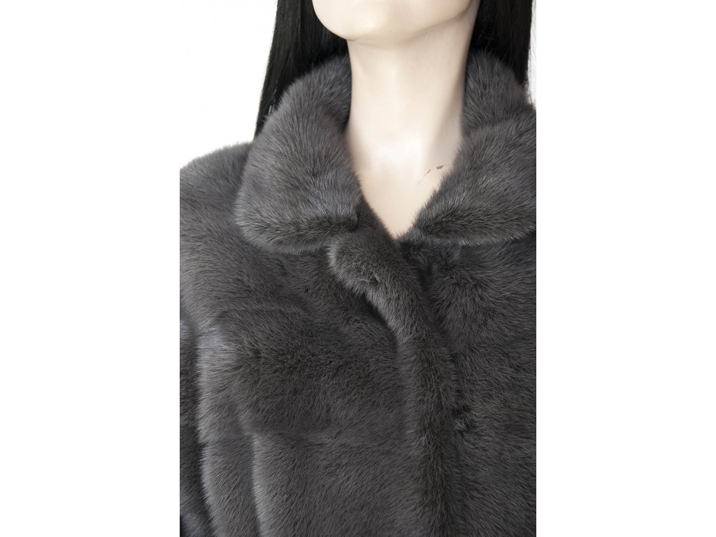 ... SIMONETTA RAVIZZA luxusní norkový kožich tmavě šedý 34 36 38 sleva 70%  ... 4a19463a57