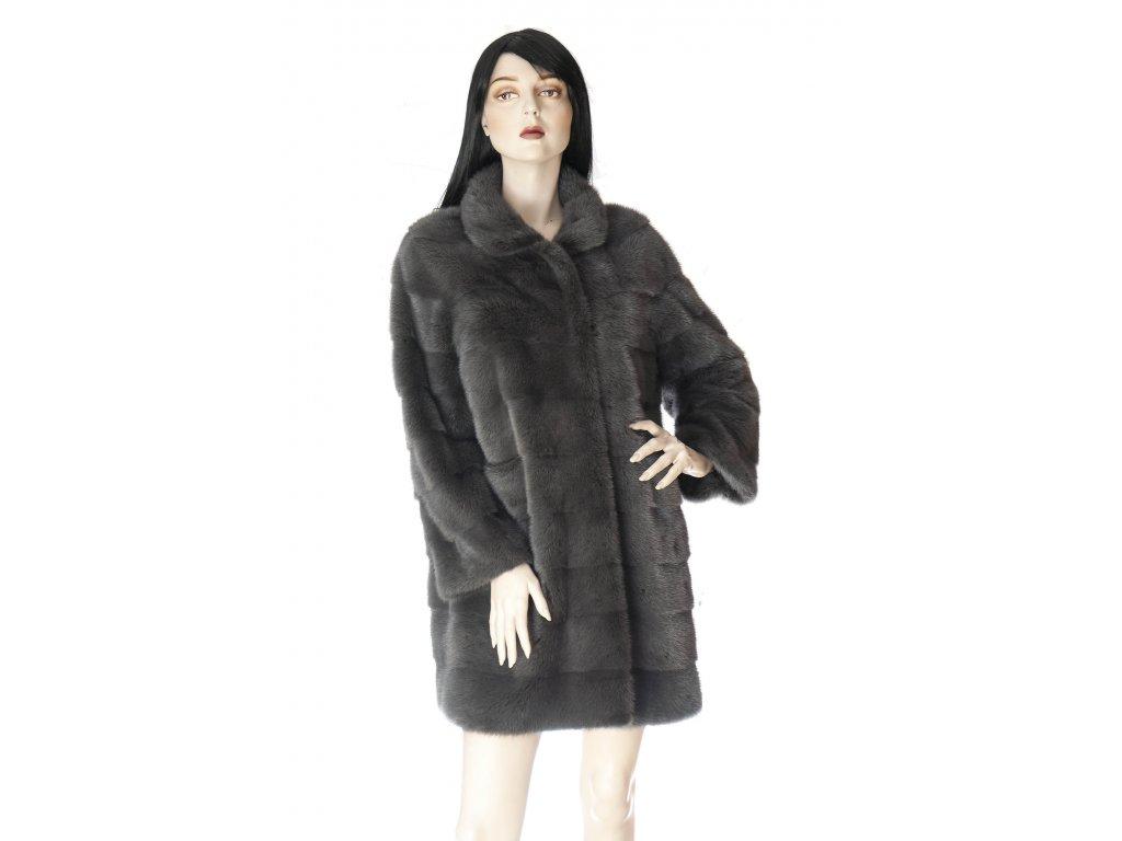 luxusni norkovy kozich tmave sedy horizontalni pruhy 1