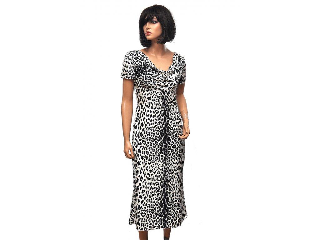 Hedvábné šaty Emanuel Ungero leopardí vzor 38 1