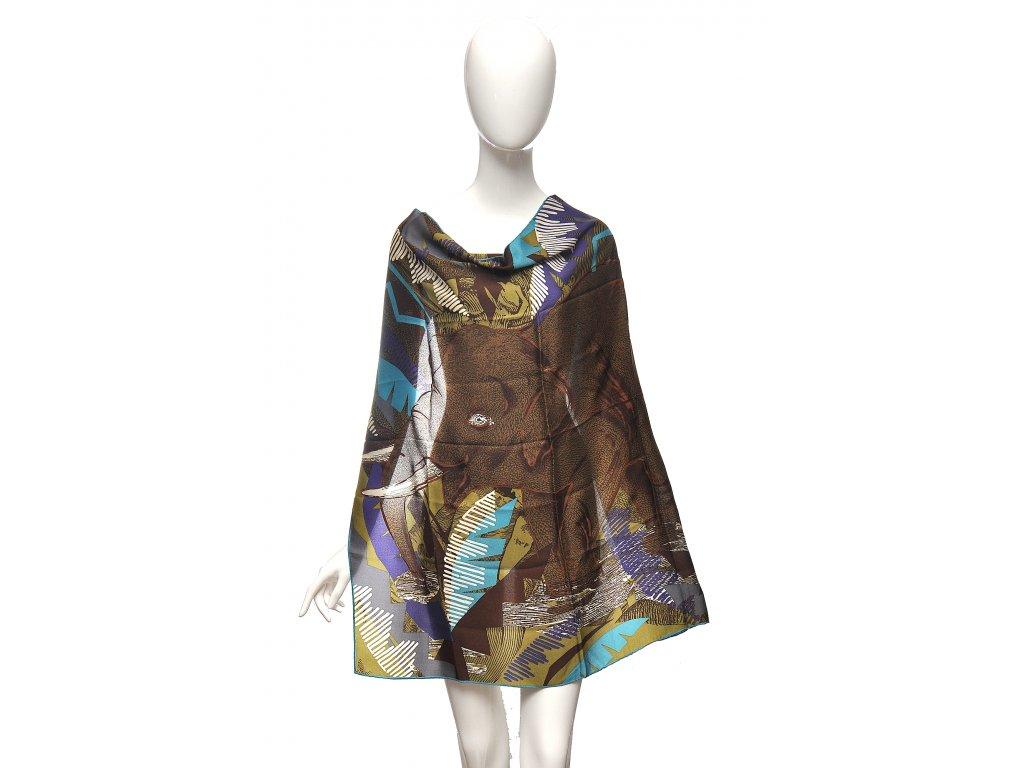 Nádherný šátek hnědých barev se slonem Kansai Yamamoto