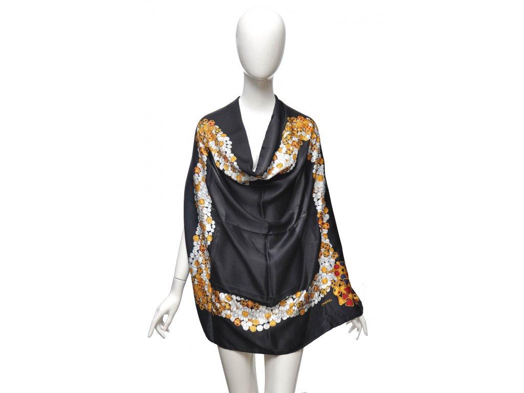 Luxusní vintage hedvábný šátek Chanel s perličkami 1