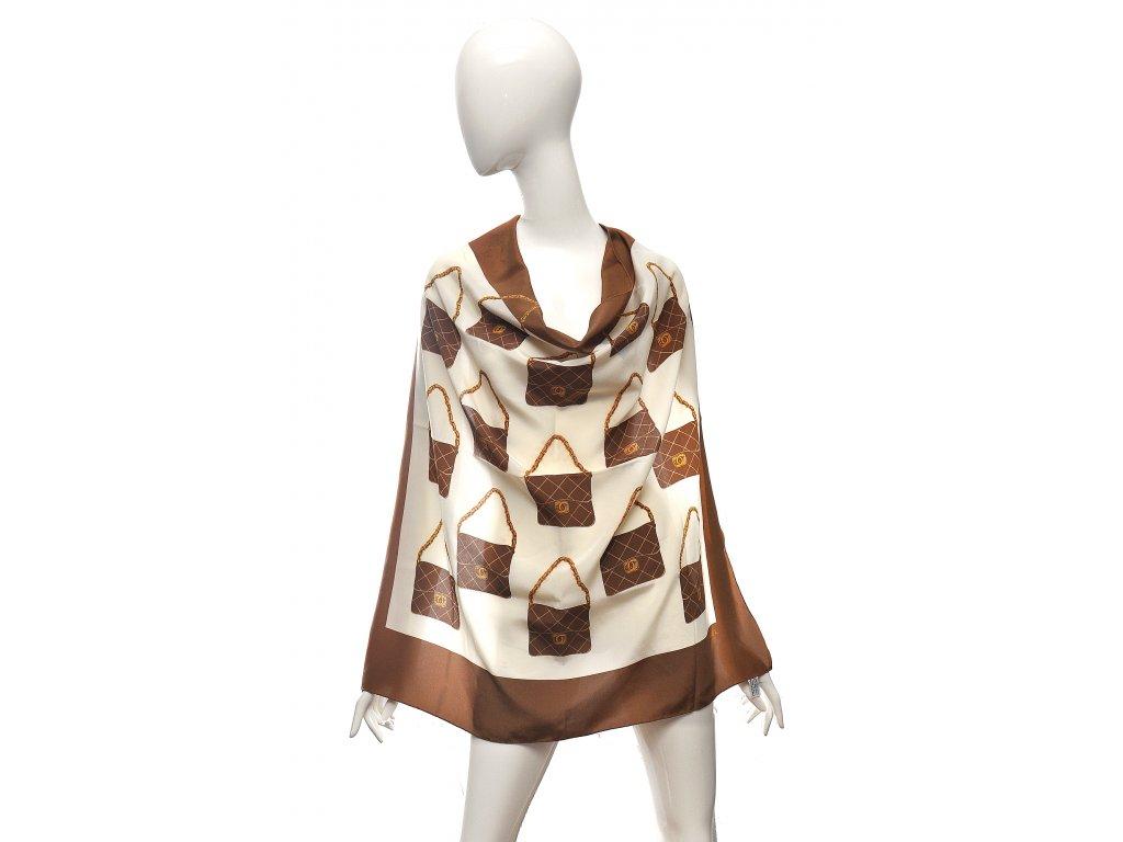 Hedvábný vintage šátek s kabelkami Chanel 1