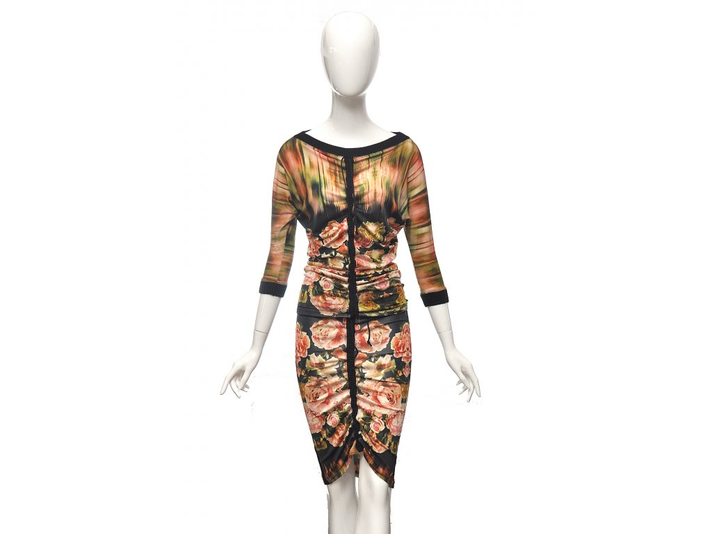 Květinový set top a sukně Jean Paul Gaultier 36 1