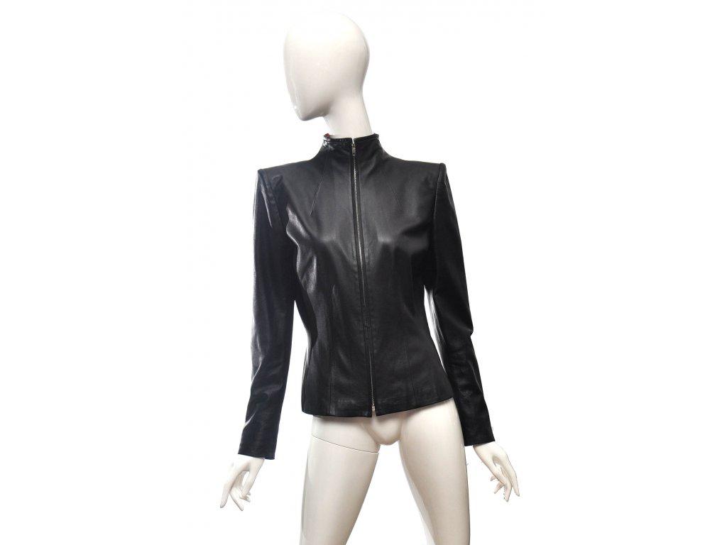 Kožená bunda s výraznými rameny Alexander McQueen 38 1