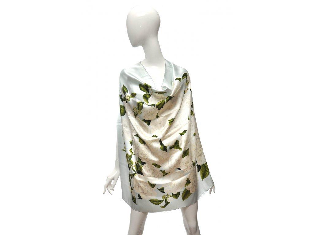 Hedvábný něžný šátek s kaméniémi Chanel 1