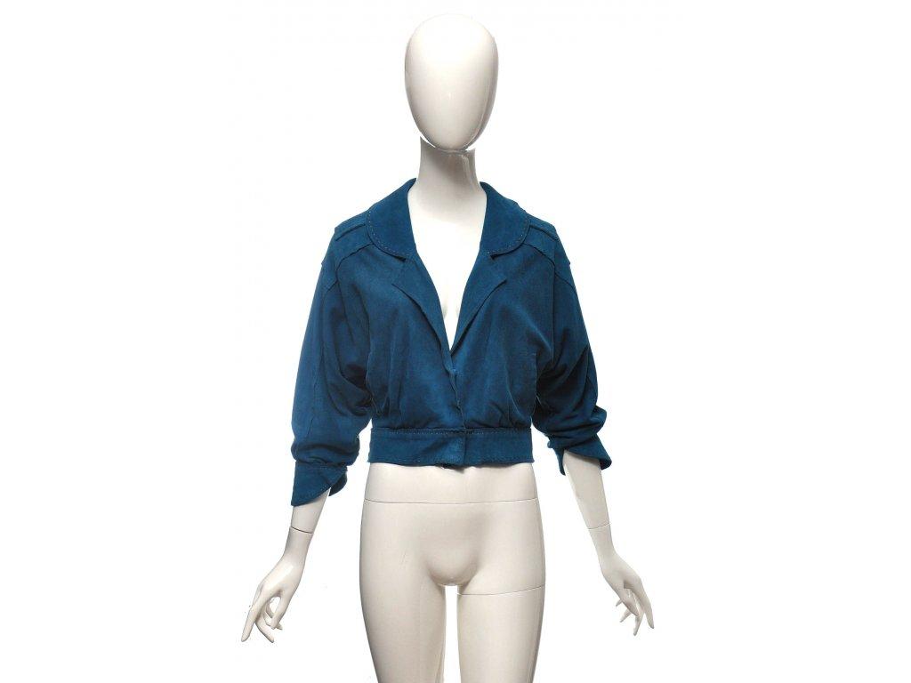 Výrazně modrá propracovaná semišová bunda Fendi 36 1