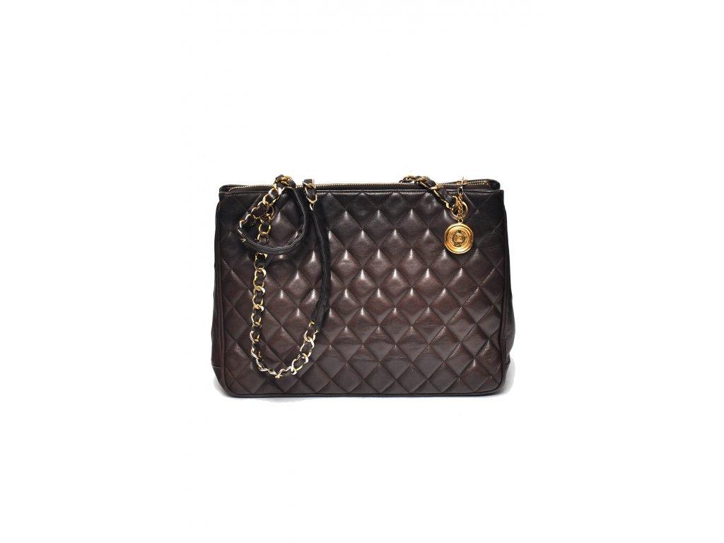 Velká hnědá kabelka vintage Chanel na řetízku 4