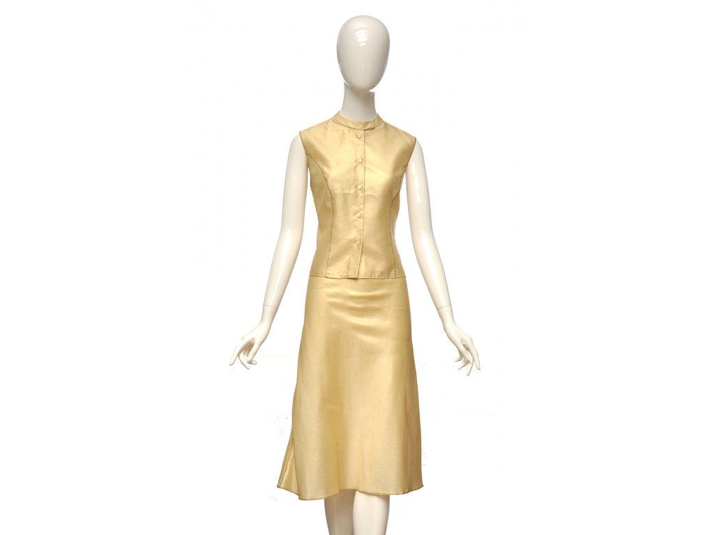 prada luxusni zlaty set top a sukne 1