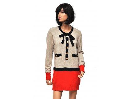 Fantastický kašmírový set svetr šaty sukně Chanel 38 8