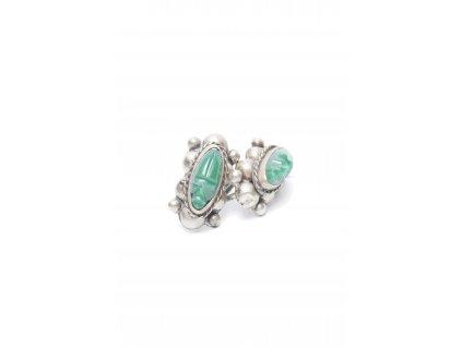 originalni nausnice se zelenym kamenem silver 1