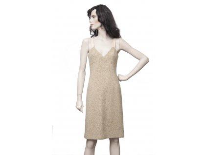 STRENESSE elegantní vlněné béžové šaty 36