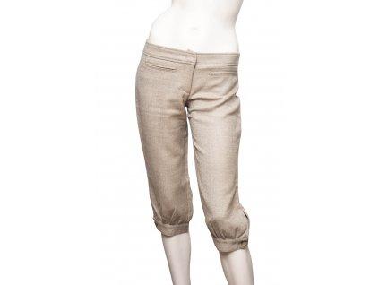 valentino vlneny 3 4 hnedobezove kalhoty 1