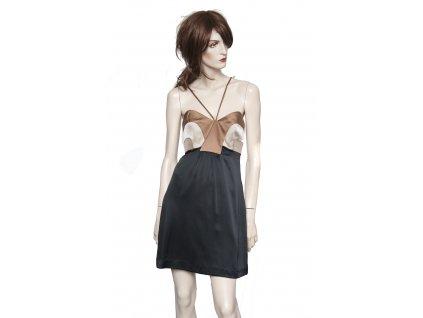 MISSONI něžné hedvábné šaty černohnědé Pc 30t. 34