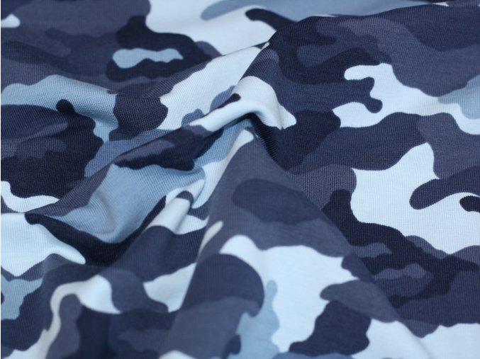 Bavlněný úplet - maskáč variace modré