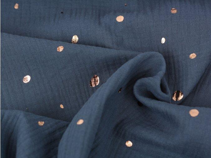 Mušelín - metalické tečky tmavě modrý