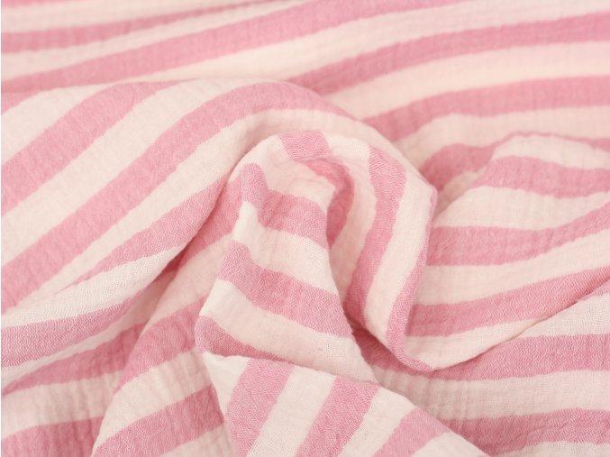 Mušelín - proužky světle růžová