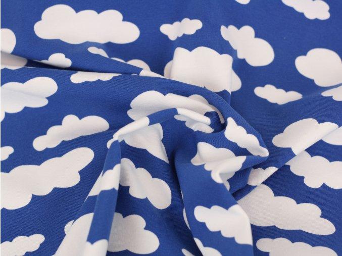 Bavlněný úplet - obláčky na modré