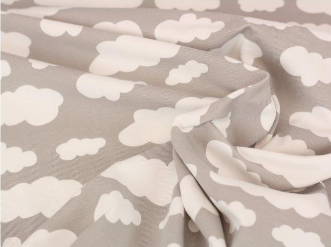 Bavlněný úplet - obláčky na šedé