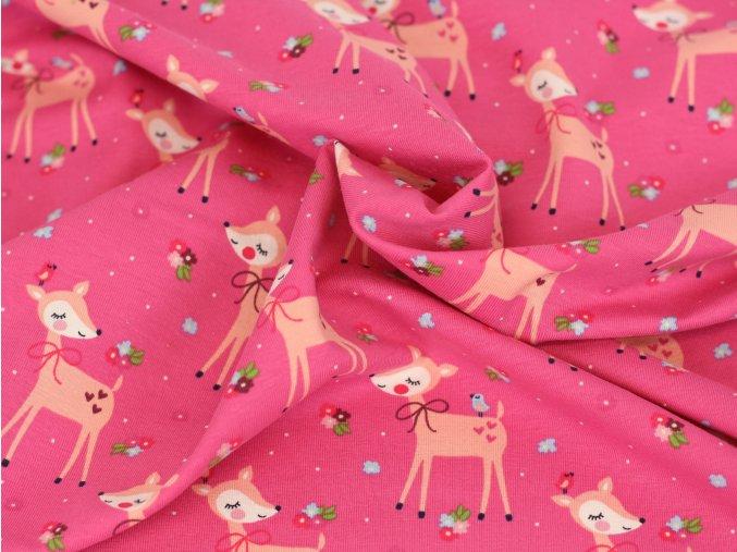 Bavlněný úplet - srnečky růžové