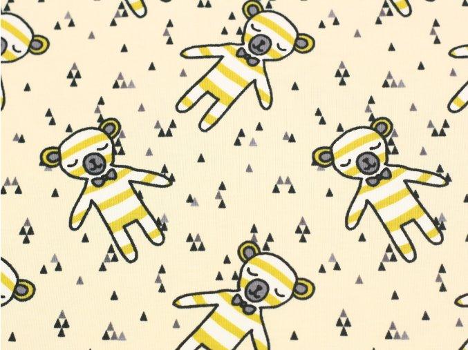 Bavlněný úplet - medvídci s proužky