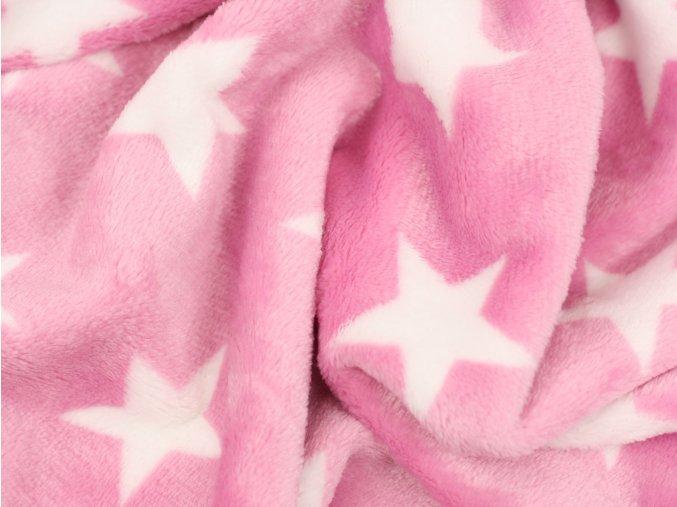 Fleece - hvězdičky růžová