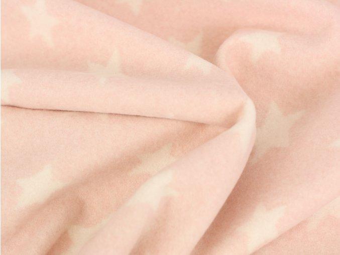 Bio Bavlněný fleece hvězdičky růžová