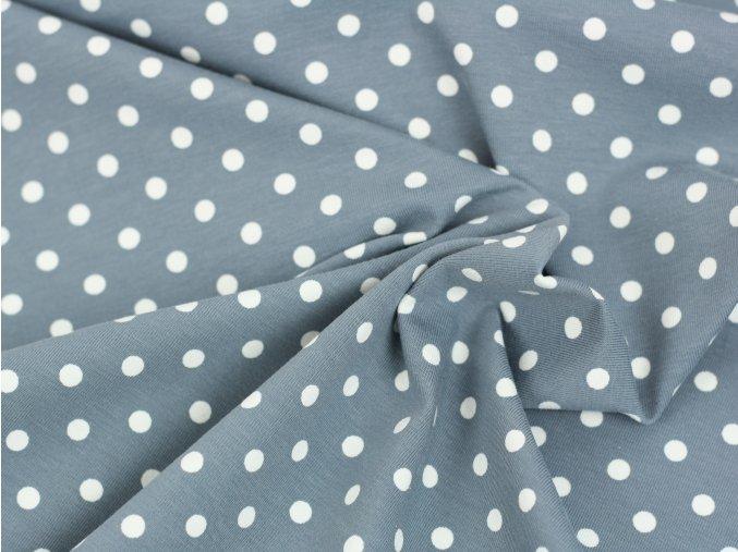 Bavlněný úplet - šedý s puntíky