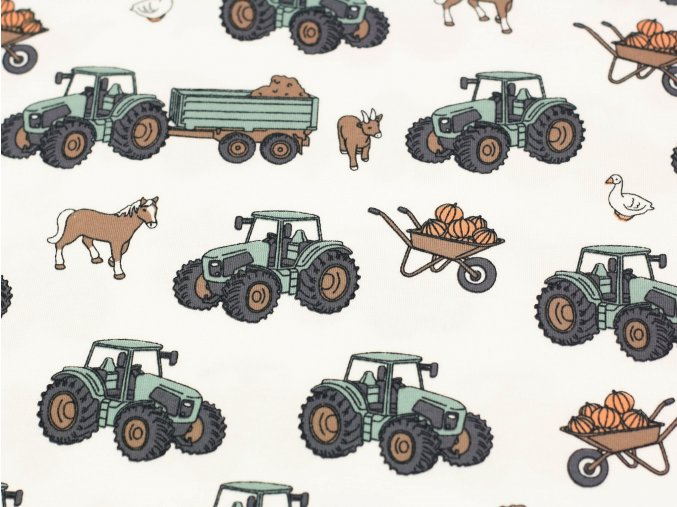 Bavlněný úplet - traktory