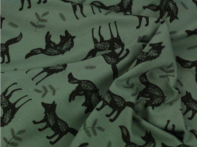 Bavlněný úplet - vlci zelená