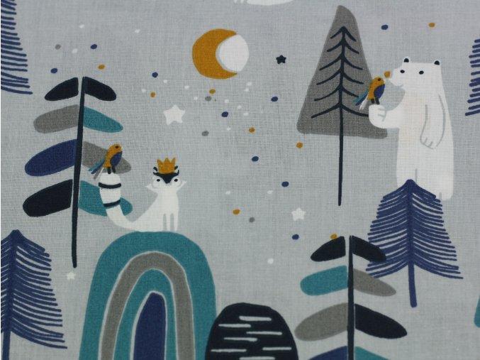 Bavlněné plátno  - medvědi v lese