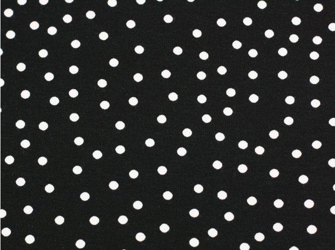 Viskózový úplet - černý s velkými puntíky