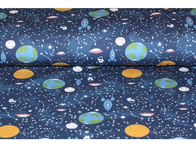 Teplákovina jemný počes - vesmír