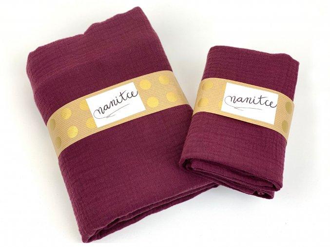 Mušelínový šátek bordó