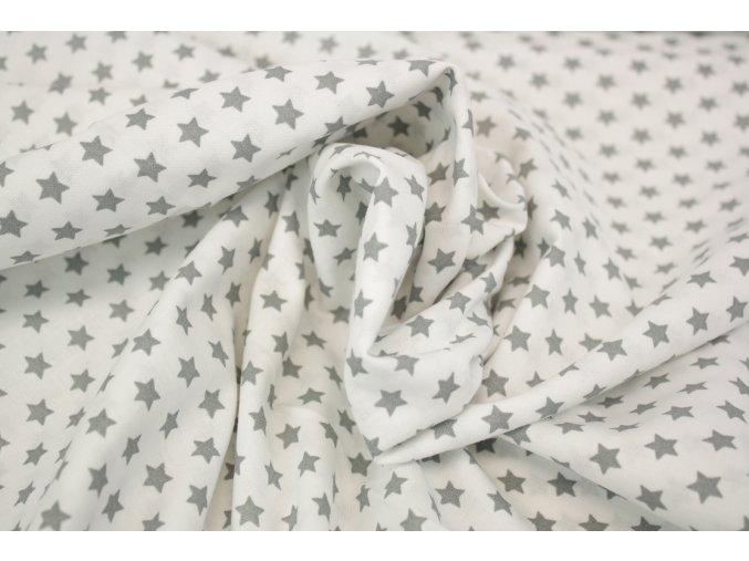 Bavlněné plátno - bílé se šedými hvěždičkami